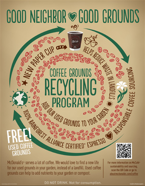 Mcdonalds Coffee Grounds Recycling Program Good Neighbor Good Grounds Az Restaurants